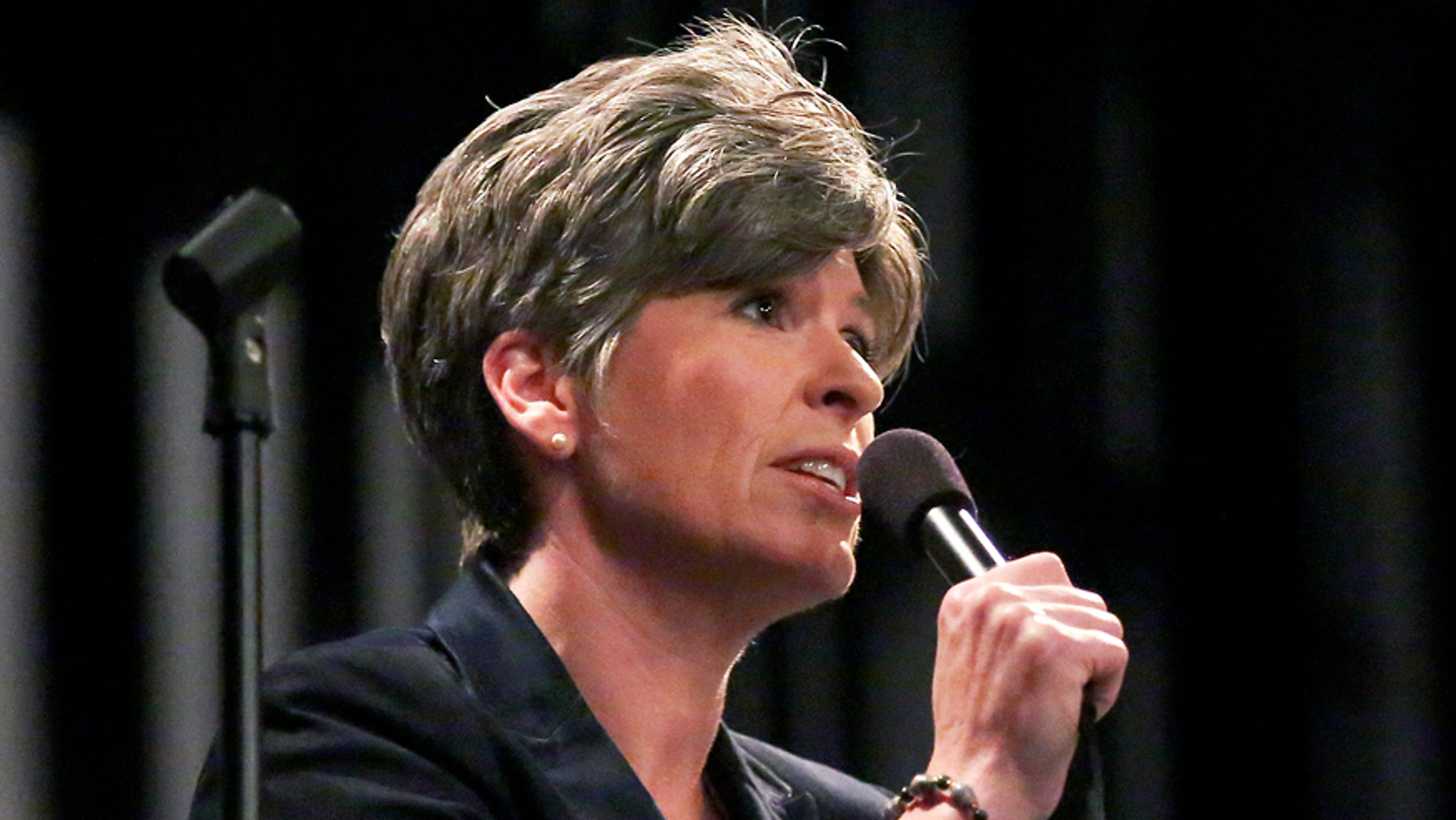 In a Monday, April 10, 2017 photo, U.S. Sen. Joni Ernst, R-Iowa, speaks during a town hall meeting at Central Community School auditorium in Elkader, Iowa. (Nicki Kohl/Telegraph Herald via AP)
