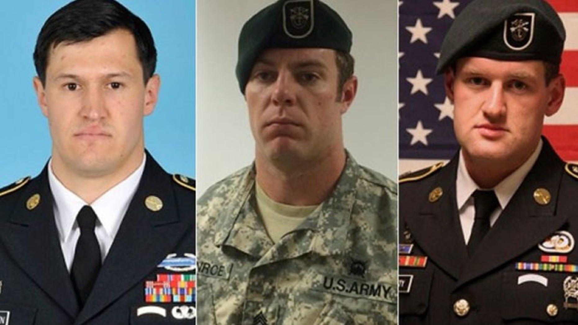 From left: Staff Sgt. Matthew Lewellen, Staff Sgt. Kevin McEnroe, Staff Sgt. James Moriarty.  (U.S. Army)
