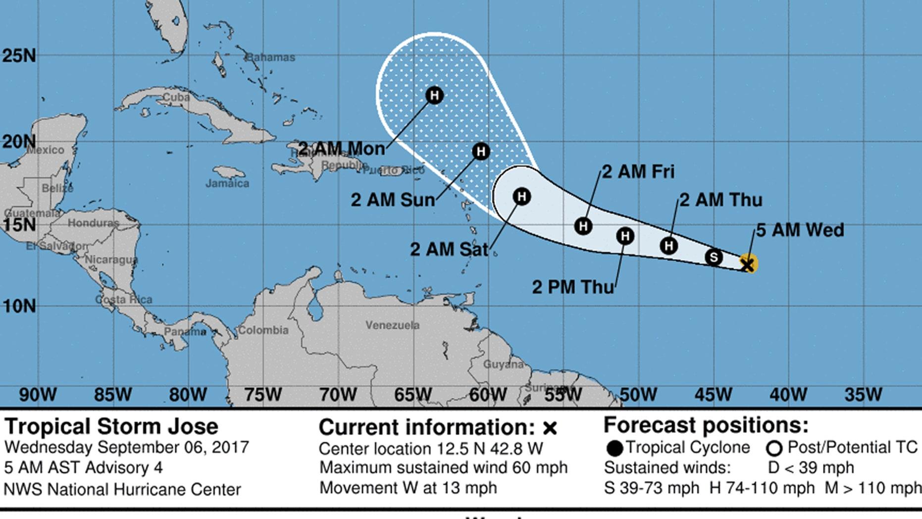 The forecast track of Tropical Storm Jose.