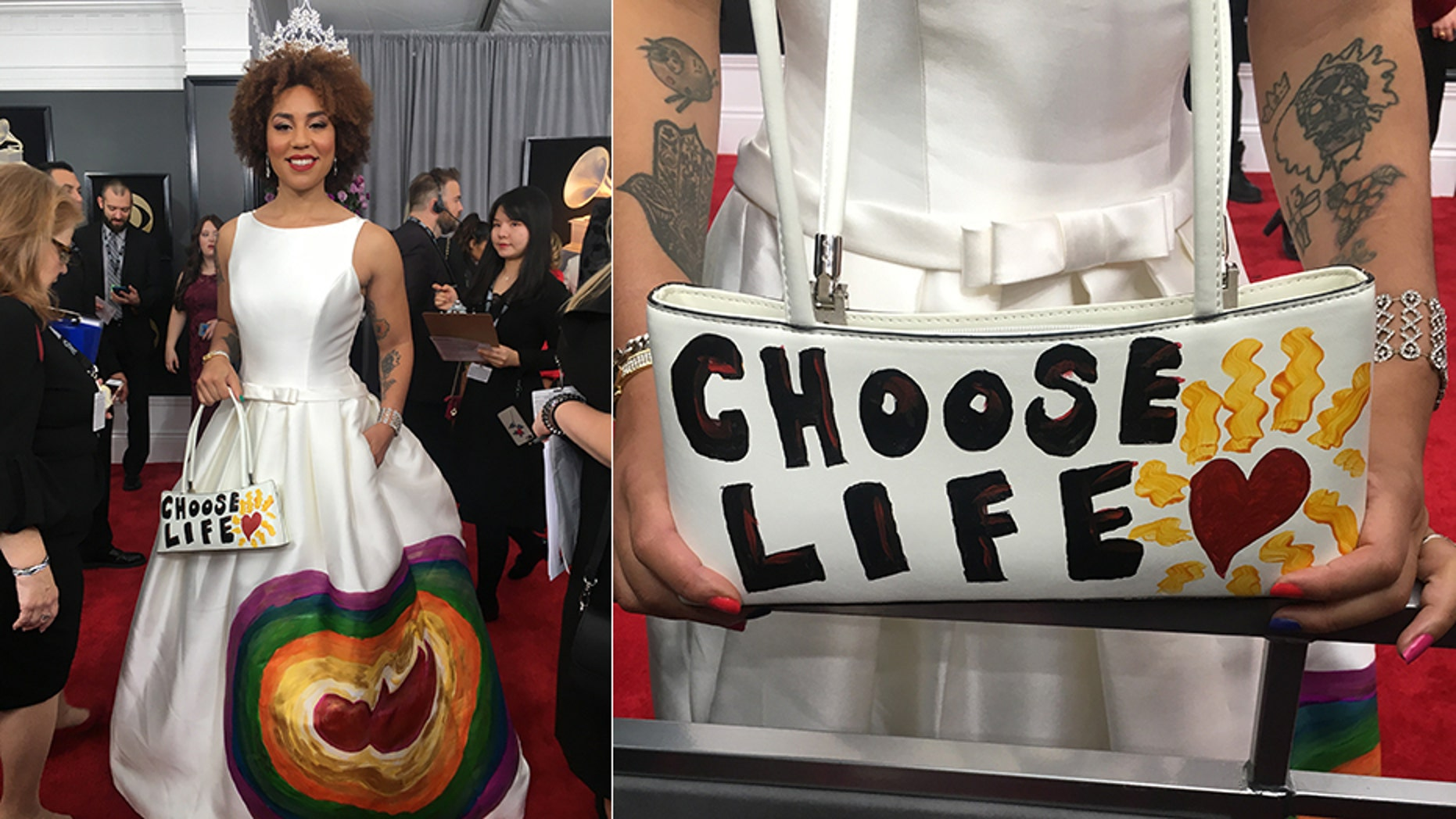 "At the Grammys, singer Joy Villa wore a dress hand-painted with the image of a fetus surrounded by a rainbow, paired with a purse that read ""choose life."""