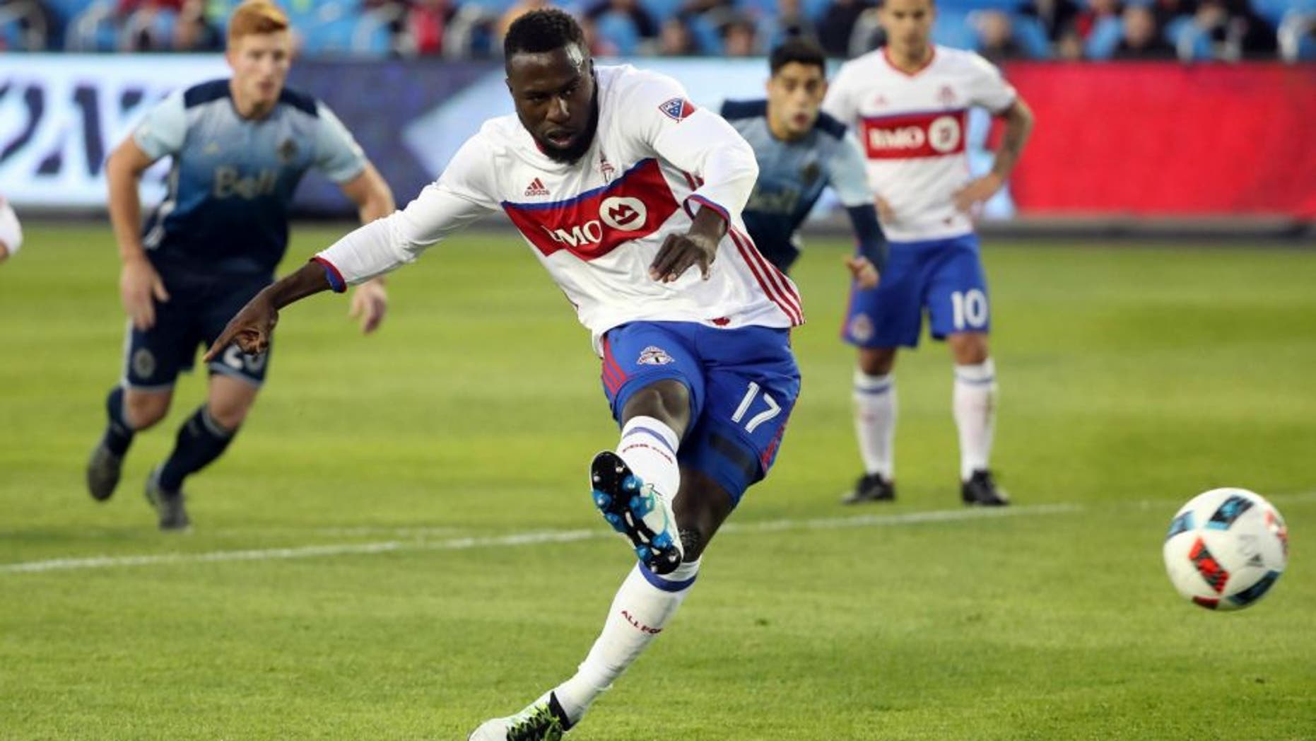 May 14, 2016; Toronto, Ontario, CAN; Toronto FC forward Jozy Altidore (17) fails to convert on a penalty kick against the Vancouver Whitecaps at BMO Field. The Whitecaps beat the FC 4-3. Mandatory Credit: Tom Szczerbowski-USA TODAY Sports