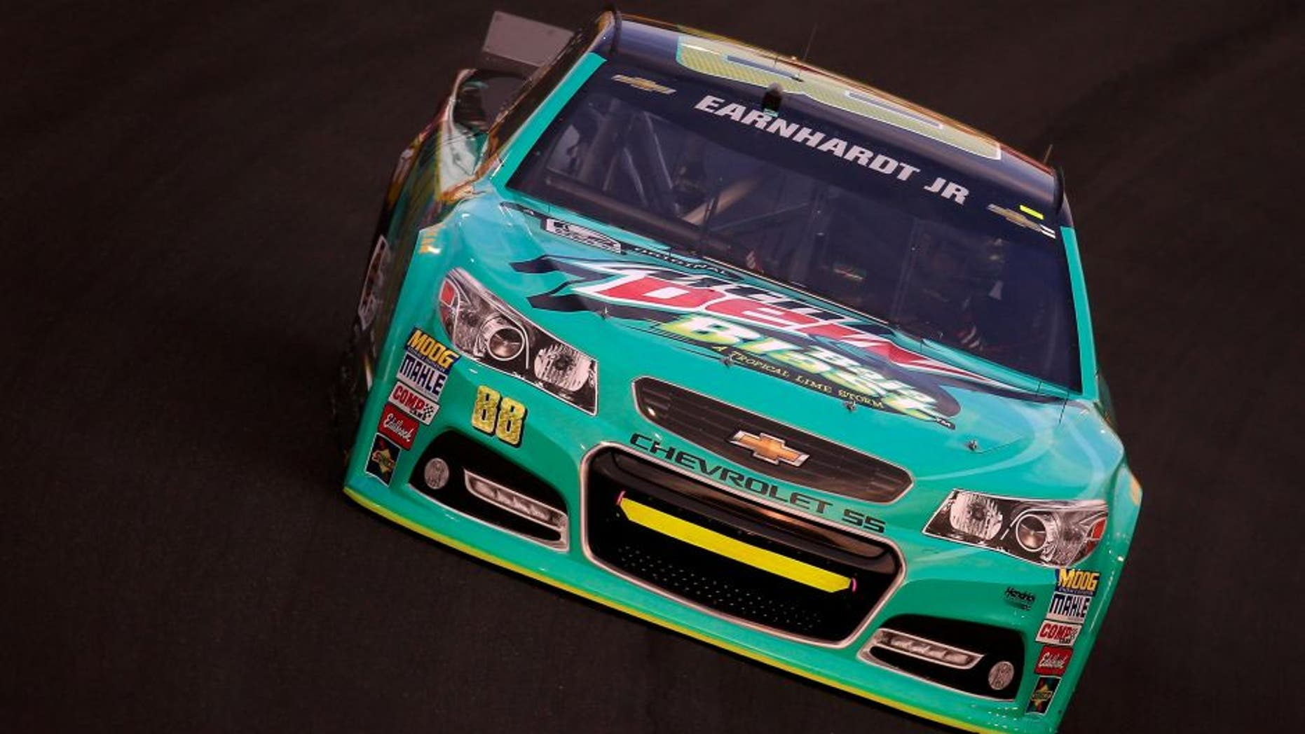 CHARLOTTE, NC - MAY 16: Dale Earnhardt Jr. drives the #88 Mountain Dew Baja Blast Chevrolet during qualifying for the NASCAR Sprint Cup Series Sprint All-Star Race at Charlotte Motor Speedway on May 16, 2015 in Charlotte, North Carolina. (Photo by Chris Trotman/Getty Images)