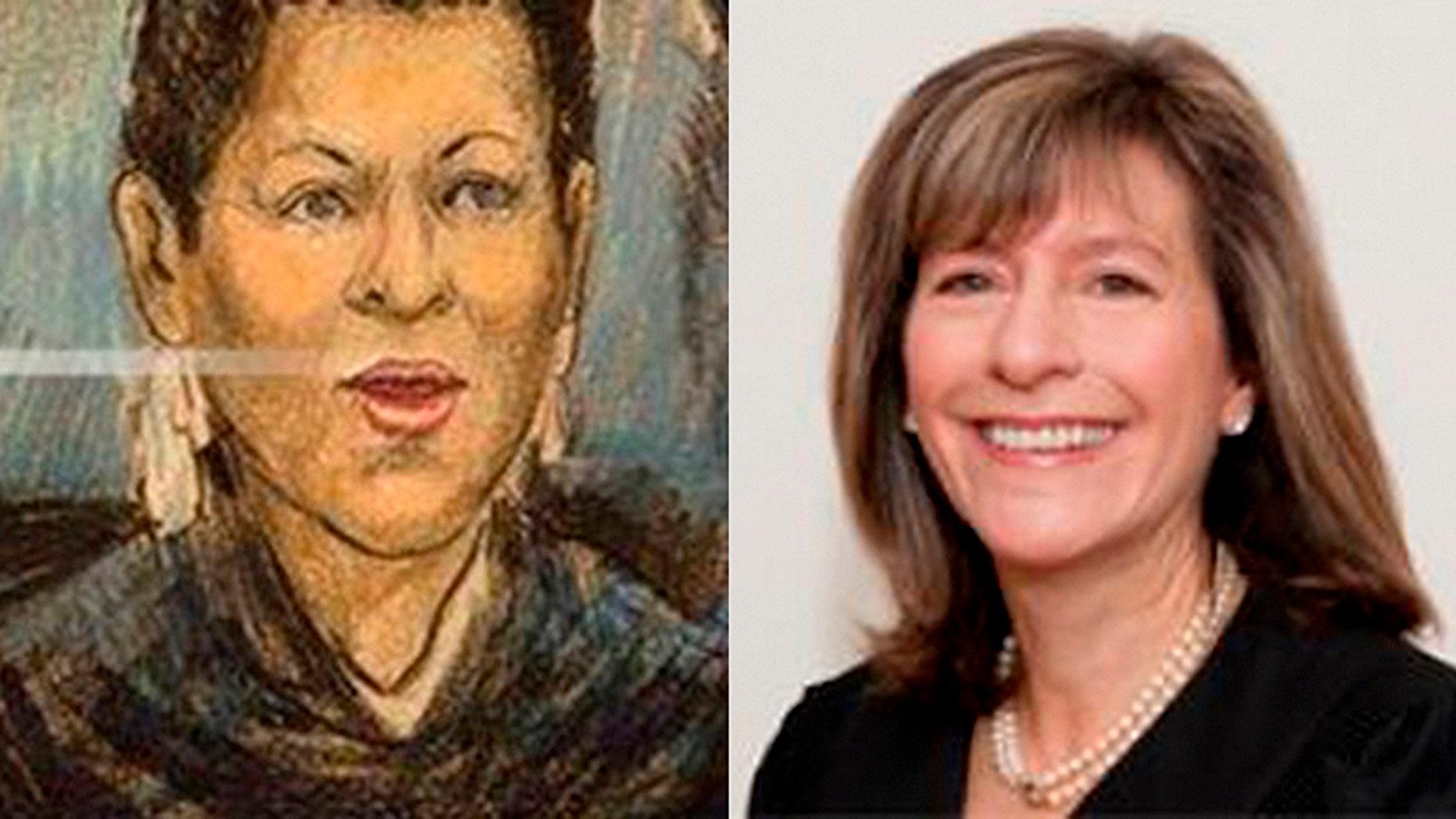 An artist's rendering shows Magistrate Judge Deborah A. Robinson, left, and U.S. District Judge Amy Berman Jackson.