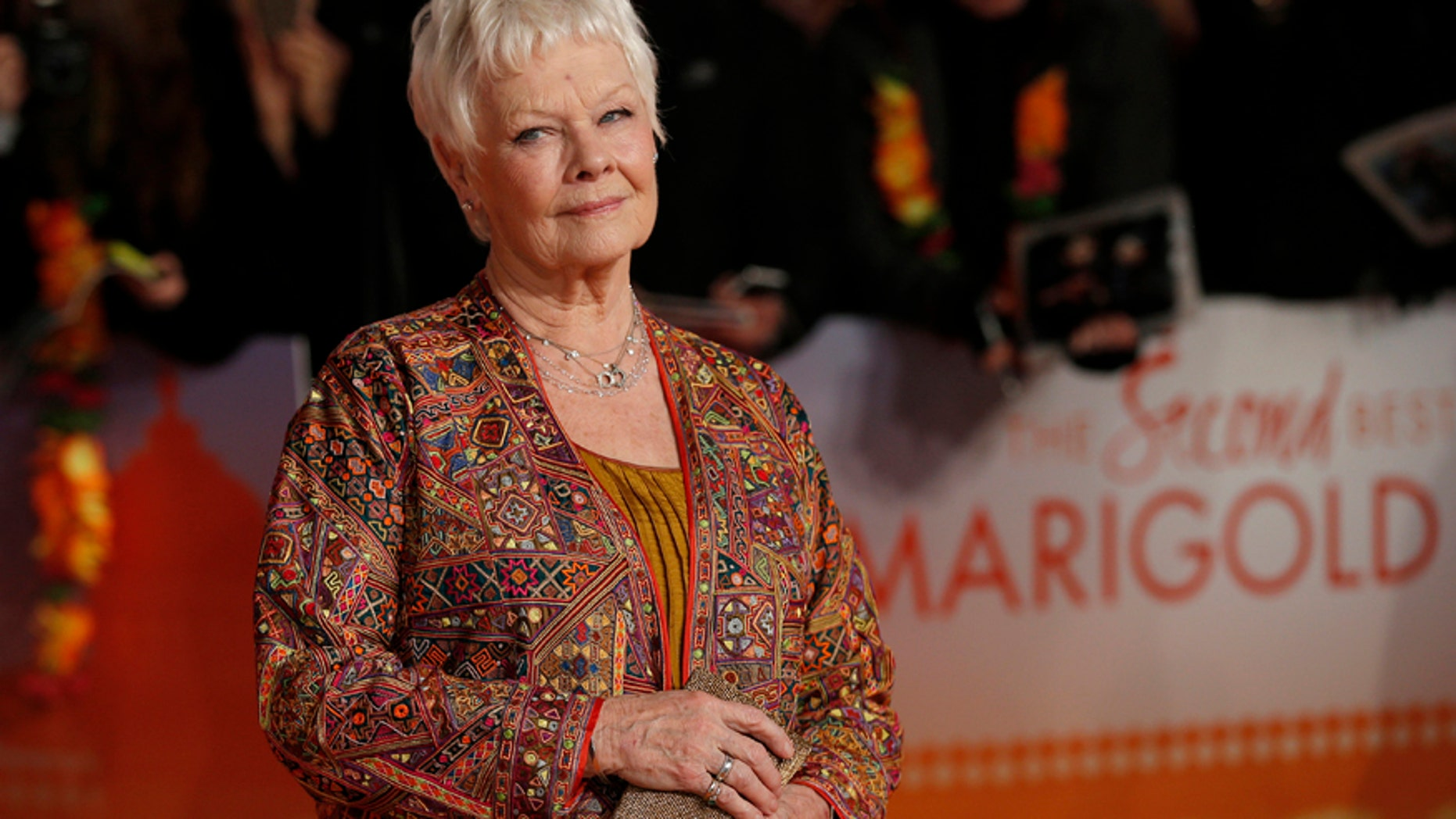 """Actress Judi Dench arrives at the Royal Film Performance and world premiere of the film, """"The Second Best Exotic Marigold Hotel"""", at Leicester Square, London February 17, 2015."""