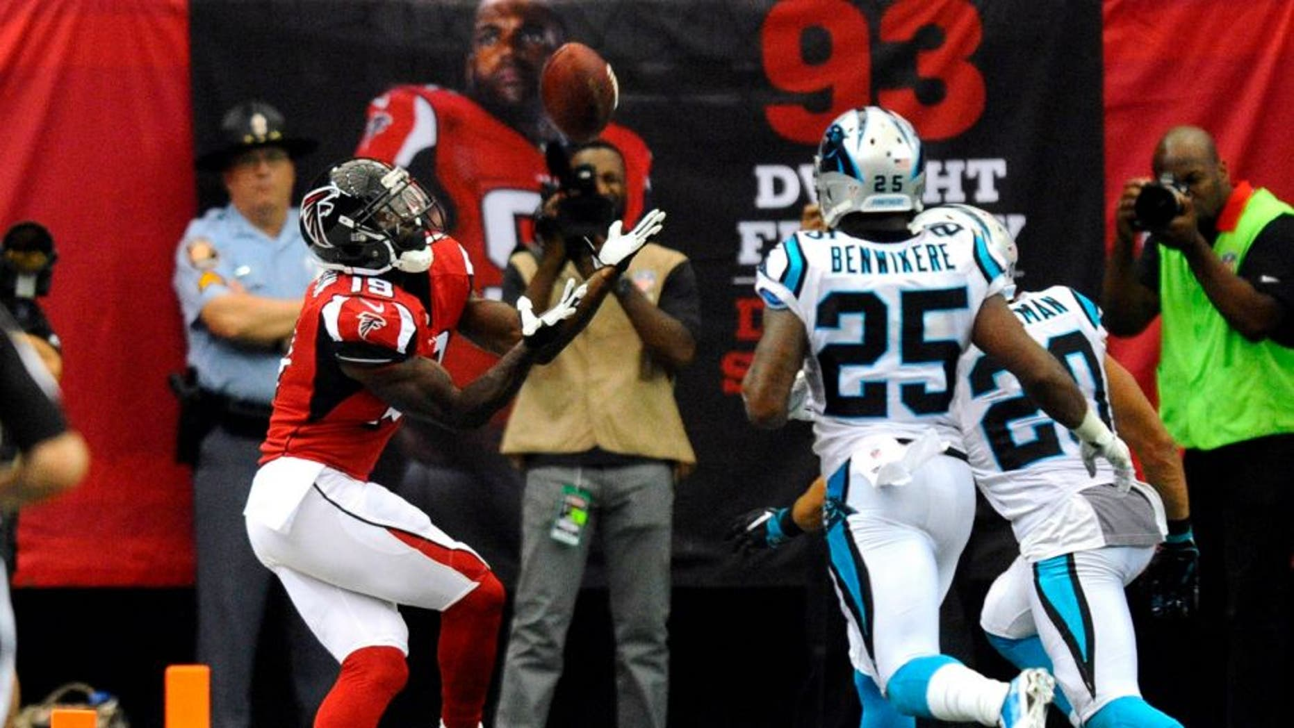 Atlanta Falcons wide receiver Aldrick Robinson (19) makes a touchdown reception past Carolina Panthers strong safety Kurt Coleman (20) and cornerback Bene' Benwikere (25) in the second half on Sunday, Oct. 2, 2016 at the Georgia Dome in Atlanta, Ga. Atlanta won 48-33. (David T. Foster III/Charlotte Observer/TNS)
