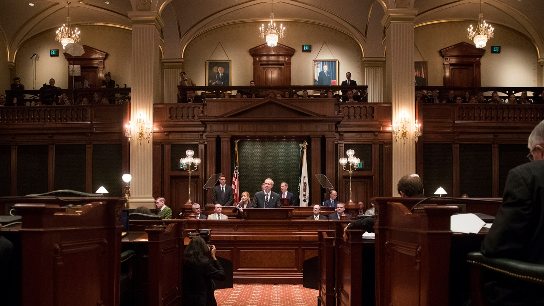 In this Jan. 25, 2017 file photo, Illinois Gov. Bruce Rauner delivers speaks in the Illinois House chamber in Springfield, Ill.