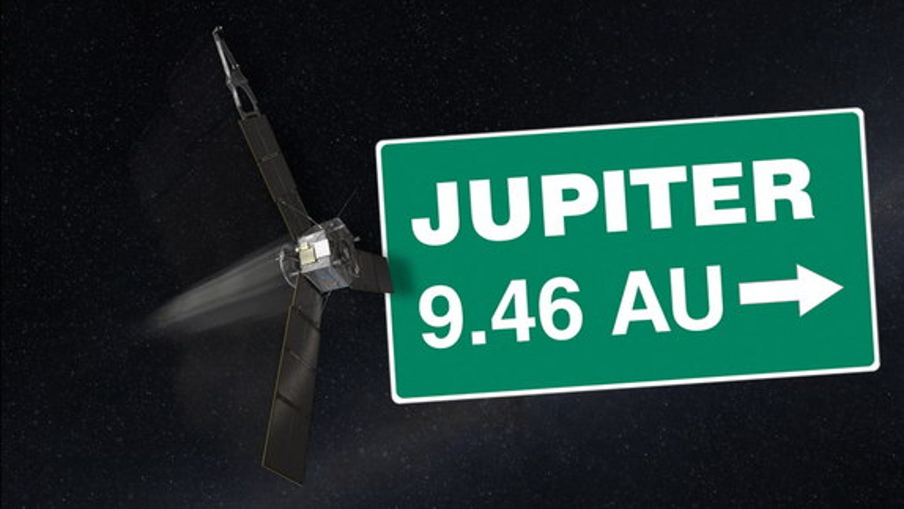 A computer-generated image depicts NASA's Juno spacecraft.