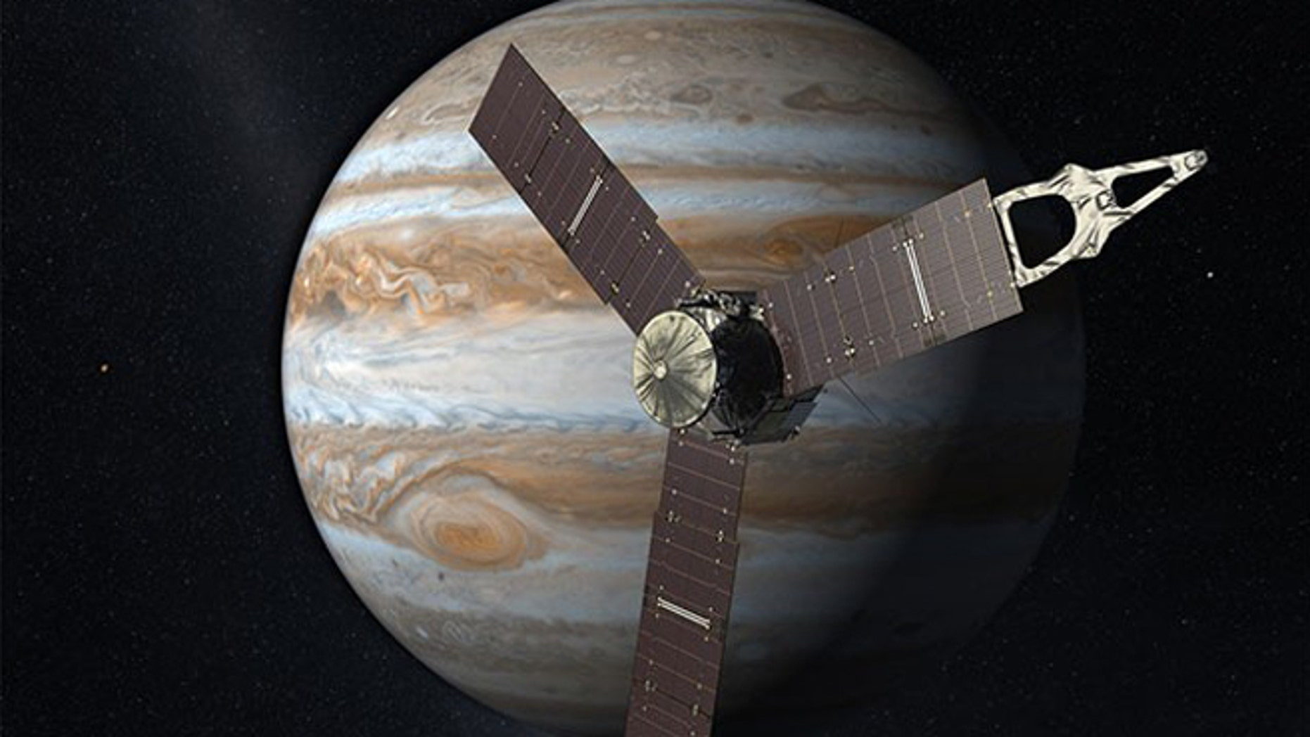 Juno is seen here carrying a University of Iowa-designed-and-built instrument.