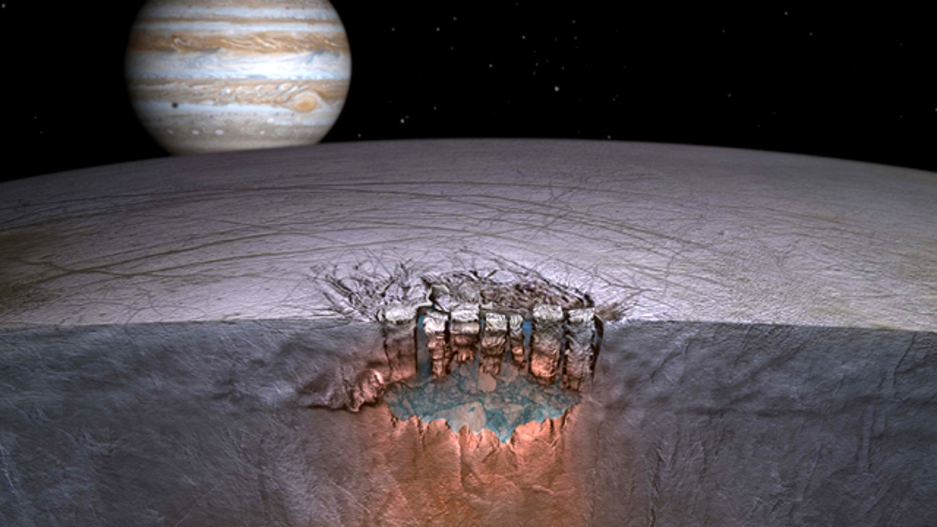 """Europa's """"Great Lake."""" Scientists speculate many more exist throughout the shallow regions of the moon's icy shell."""