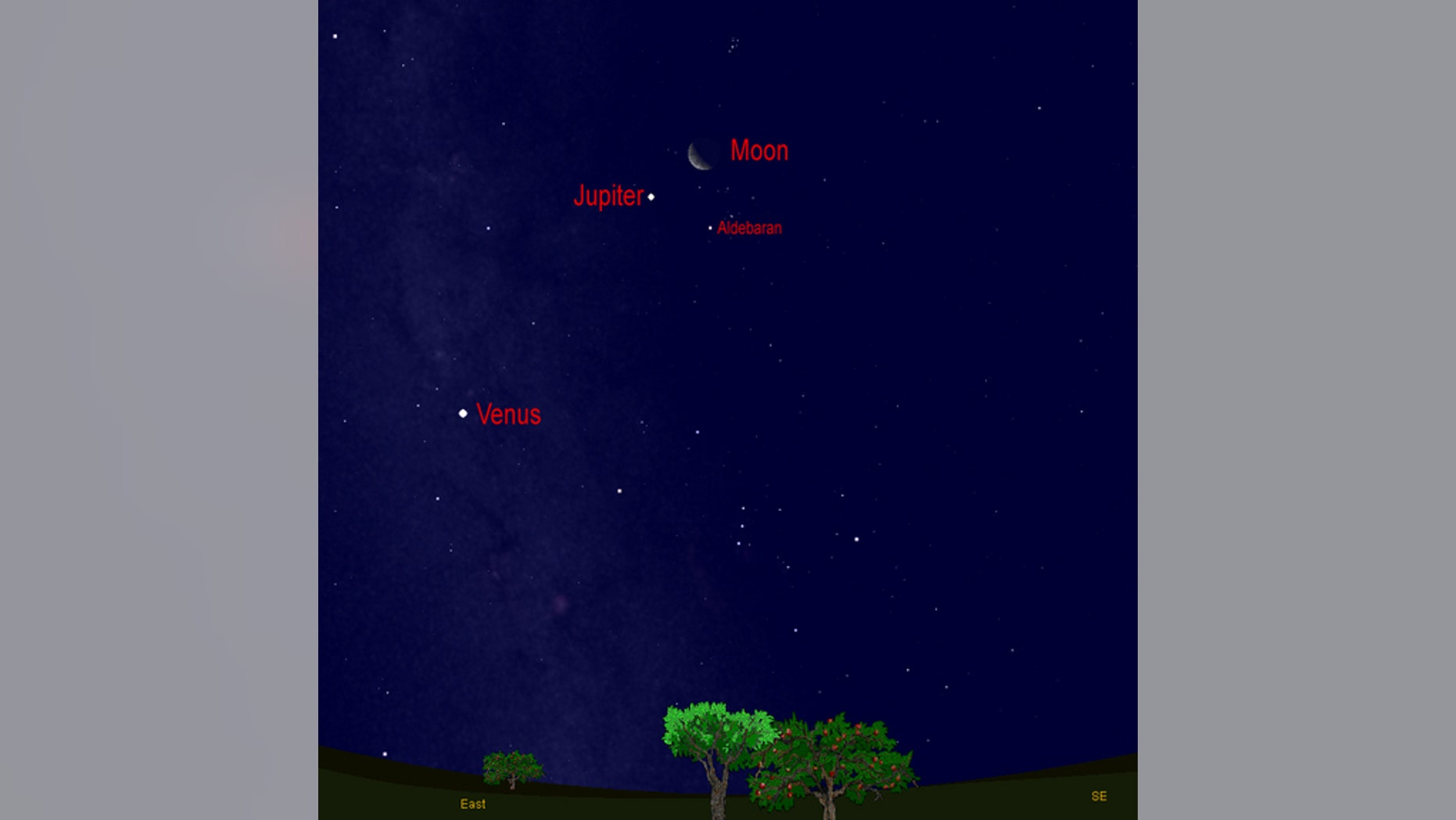 This sky map shows how Jupiter, the moon and Venus will shine before dawn on Aug. 11, 2012.