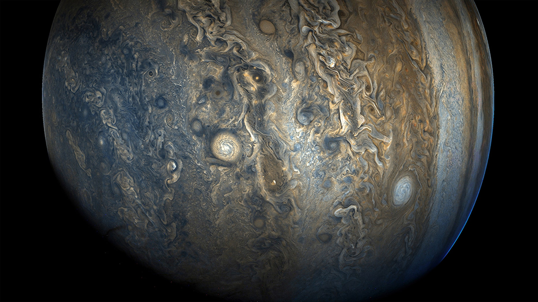 Jupiter's southern hemisphere, as photographed by NASA's Juno spacecraft.