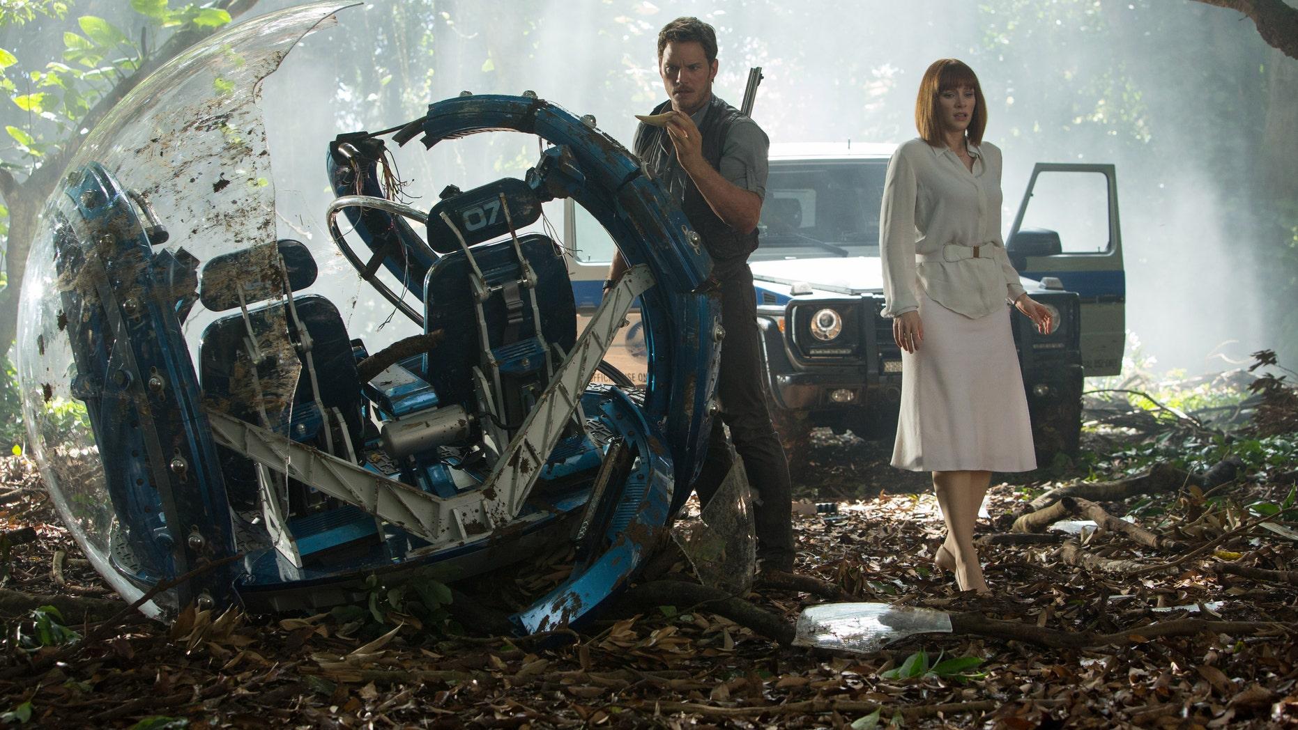 "Chris Pratt, left, and Bryce Dallas Howard in, ""Jurassic World."""