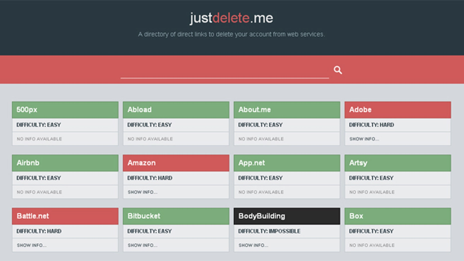 JustDelete.me provides a growing list of Internet-connected services, with links and information about the account deletion process.