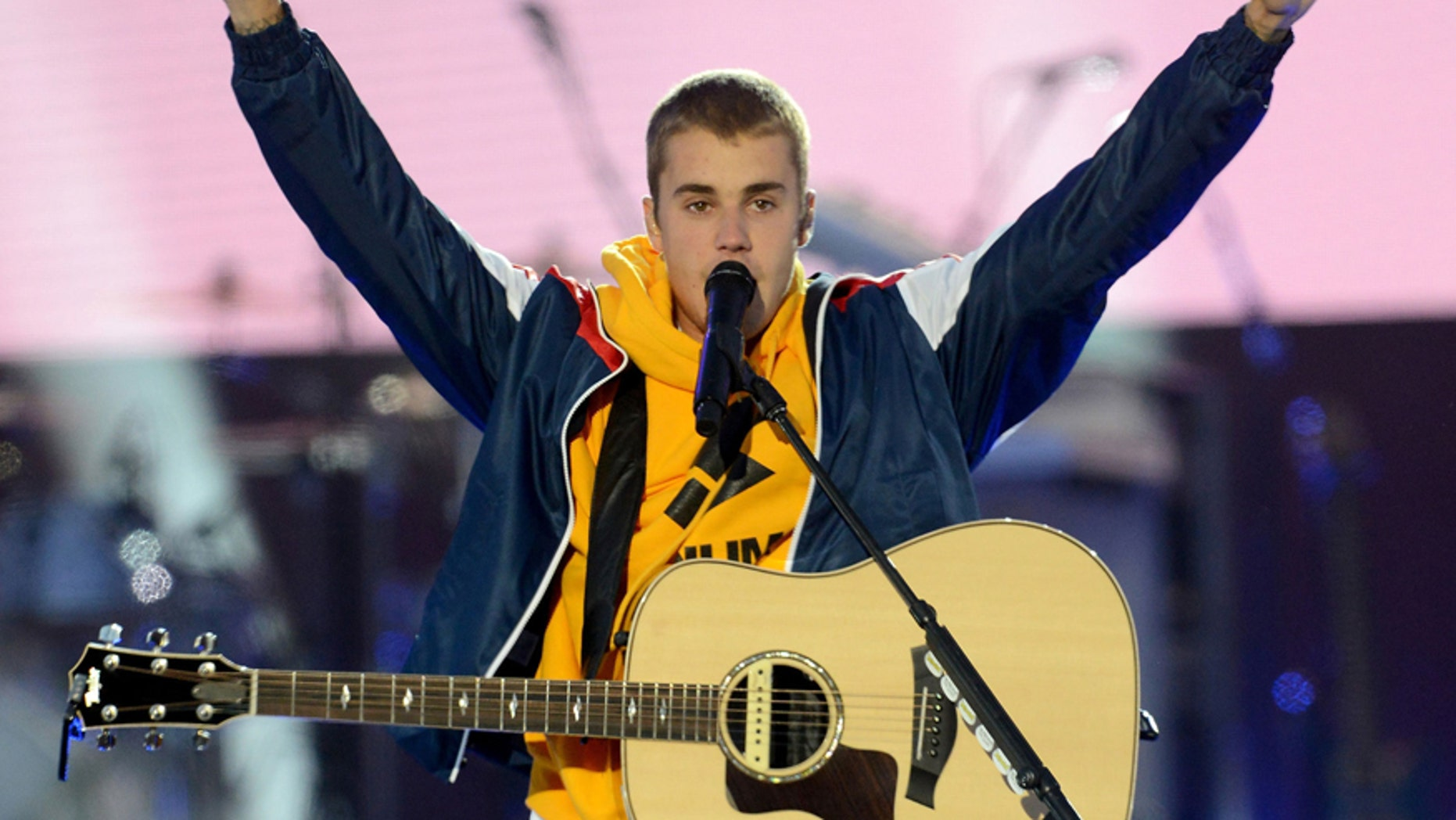 In this Sunday, June 4, 2017, handout photo provided by Dave Hogan for One Love Manchester, singer Justin Bieber performs at the One Love Manchester tribute concert in Manchester, north western England, Sunday, June 4, 2017.