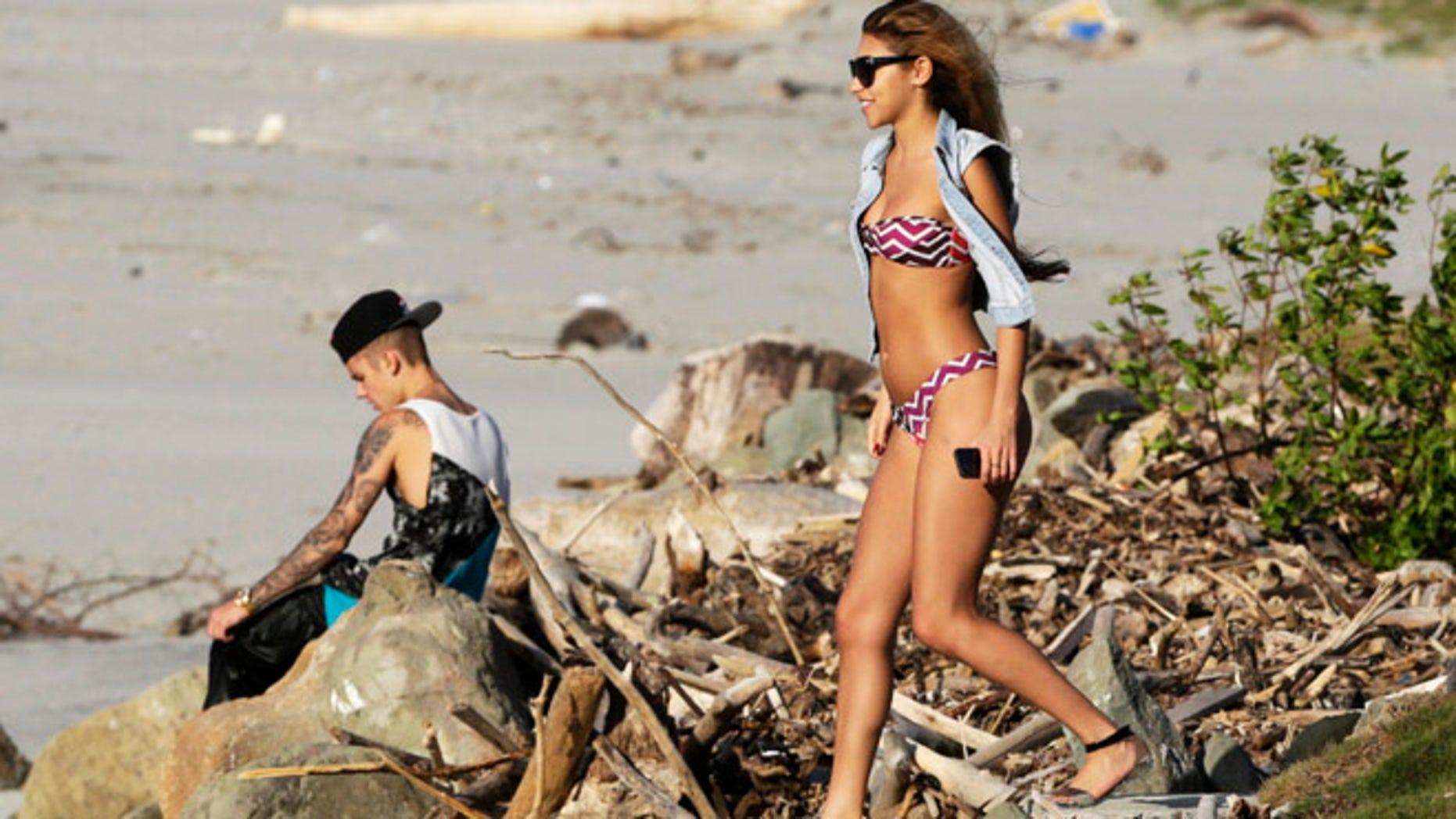 Chantel Jeffries and Justin Bieber on the outskirts of Panama City.