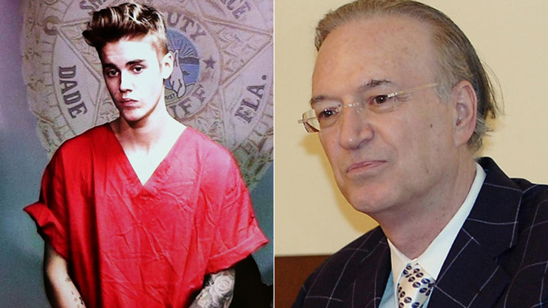 Justin Bieber appears in court via video feed, left, and attorney Roy Black is shown in a 2006 file photo, right.