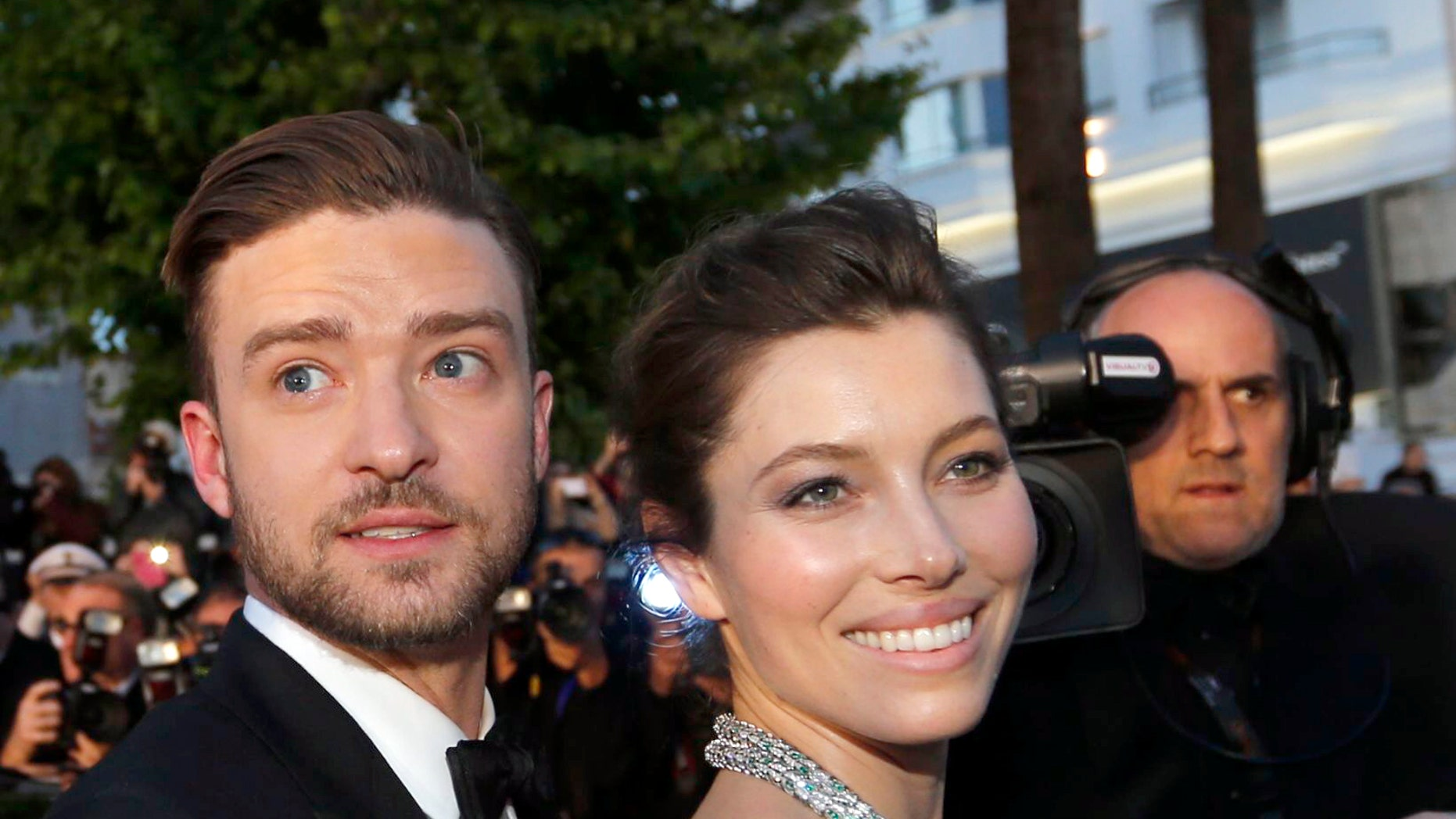 """May 19, 2013. Actor and singer Justin Timberlake (L) and actress Jessica Biel leave after the screening of the film """"Inside Llewyn Davis"""" in competition during the 66th Cannes Film Festival in Cannes."""