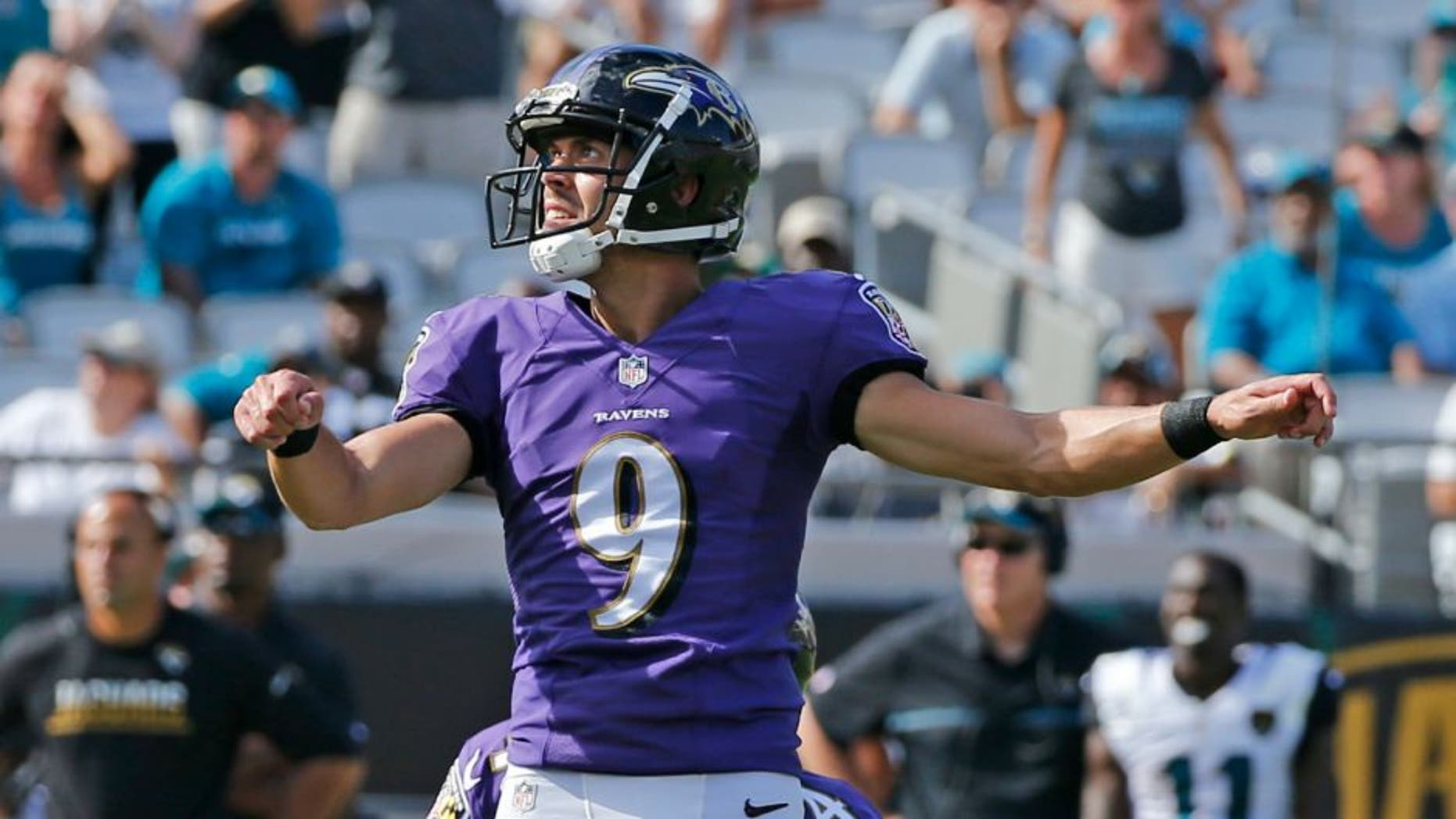 JACKSONVILLE, FL - SEPTEMBER 25: Justin Tucker #9 of the Baltimore Ravens looks up after kicking the winning field goal in the fourth quarter against the Jacksonville Jaguars during an NFL game on September 25, 2016 at EverBank Field in Jacksonville, Florida. The Ravens defeated the Jaguars 19-17. (Photo by Joel Auerbach/Getty Images) *** Local Caption *** Justin Tucker