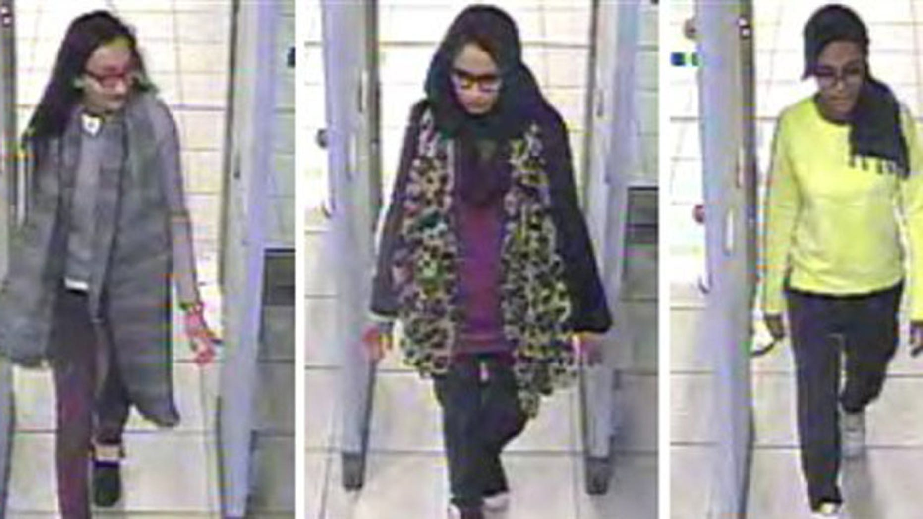 Monday Feb. 23, 2015 file handout image of a three image combo of stills taken from CCTV issued by the Metropolitan Police Kadiza Sultana, left, Shamima Begum, centre and and Amira Abase going through security at Gatwick airport, before they caught their flight to Turkey. (Metropolitan Police via AP)