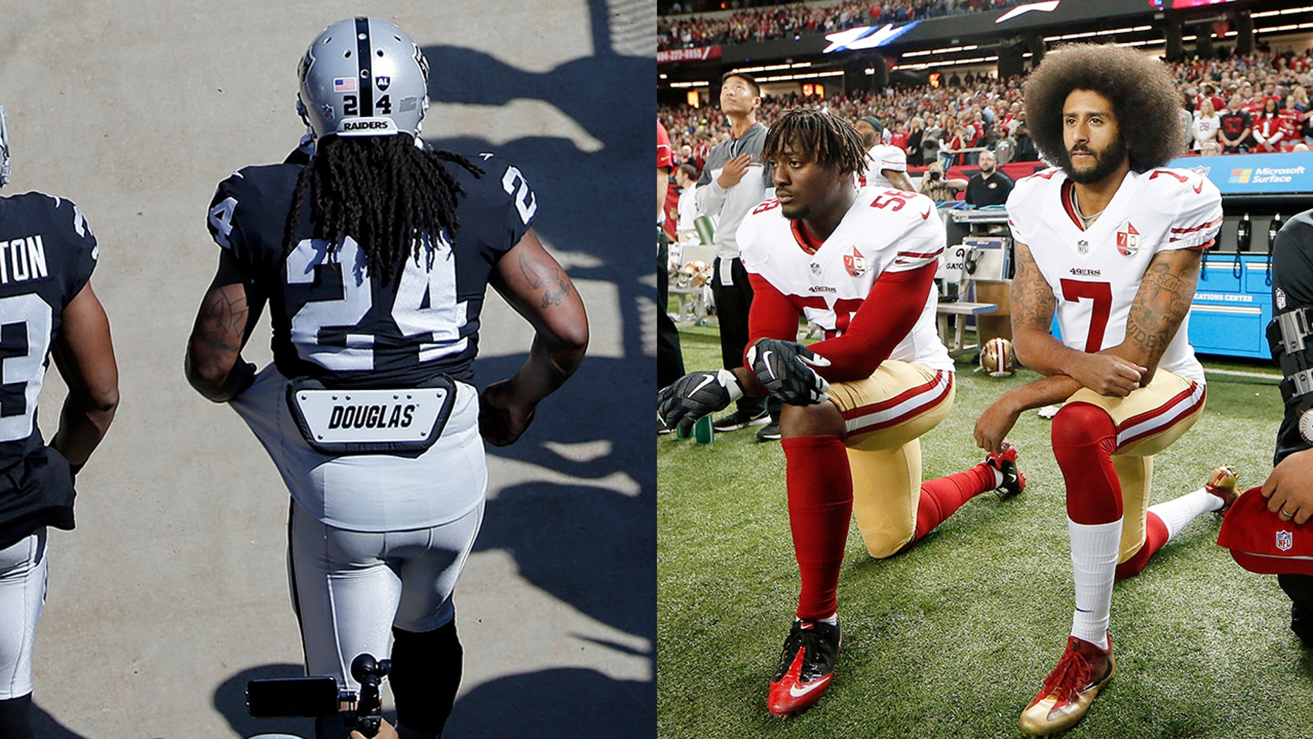 A bar in Missouri is taking heat for using the jerseys of Lynch (24) and Kaepernick (7) as doormats