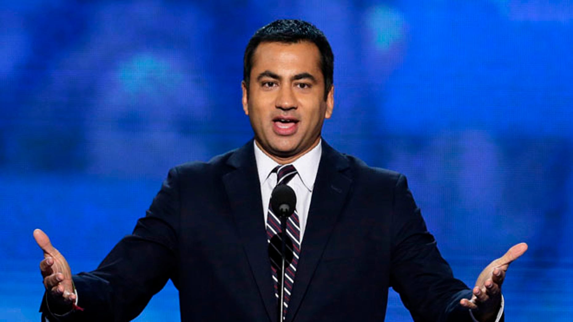 In this Sept. 4, 2012 file photo, Actor Kal Penn addresses the Democratic National Convention in Charlotte, N.C.