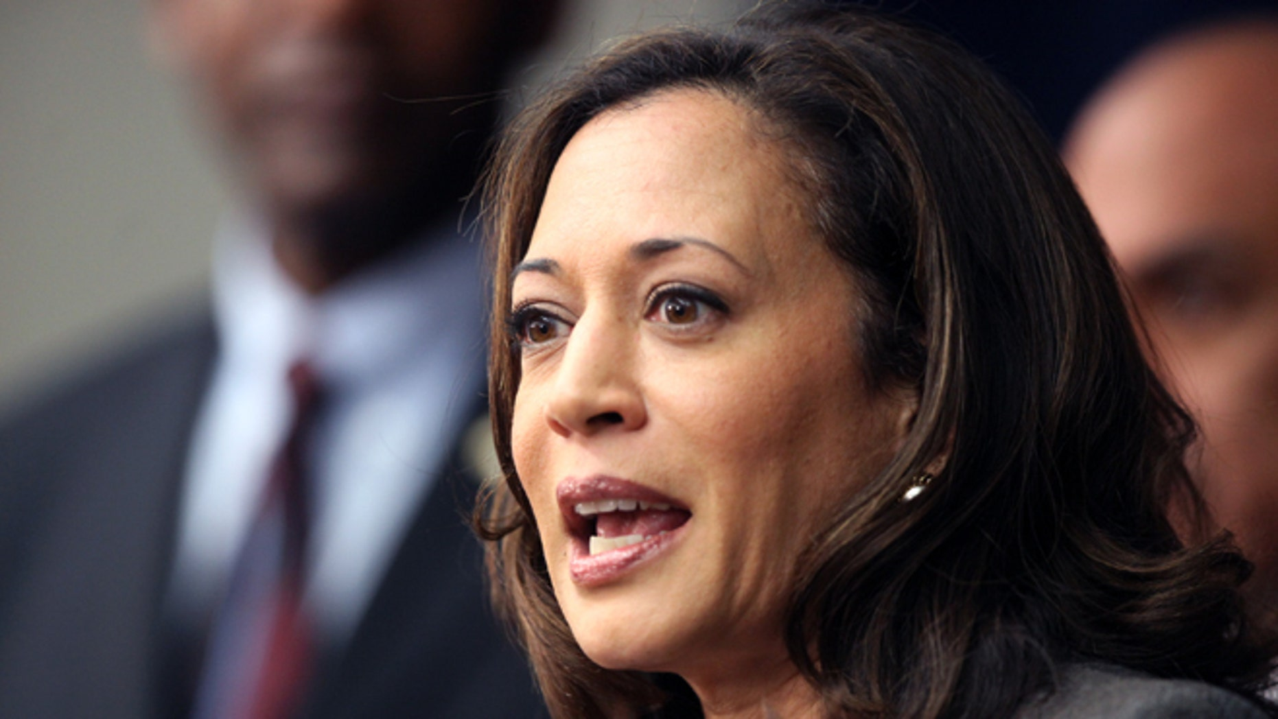 Nov. 16, 2012: California Attorney General Kamala Harris speaks during a news conference in Los Angeles.