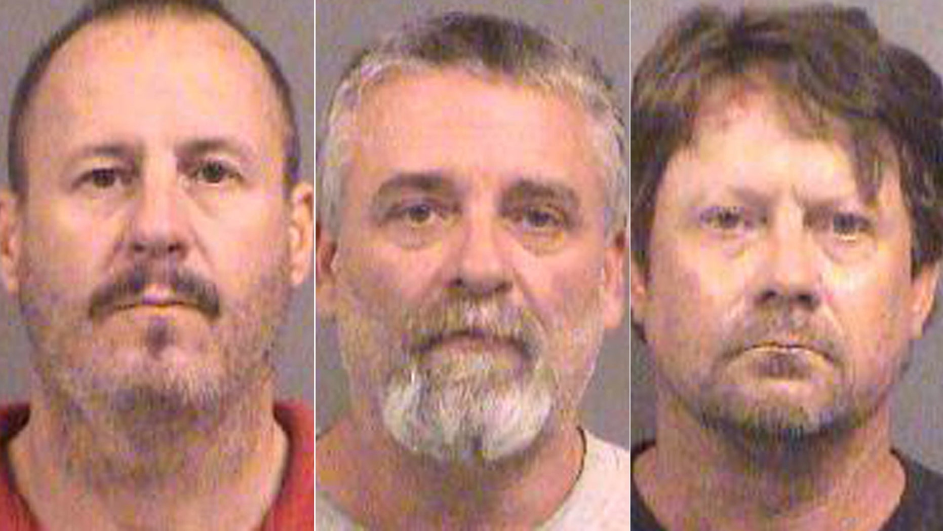 Oct. 14, 2016: These booking photos show, from left, Curtis Allen, Gavin Wright, and Patrick Eurgene Stein. All three men have been charged with plotting to bomb an apartment building filled with Somali immigrants in Garden City, Kan.