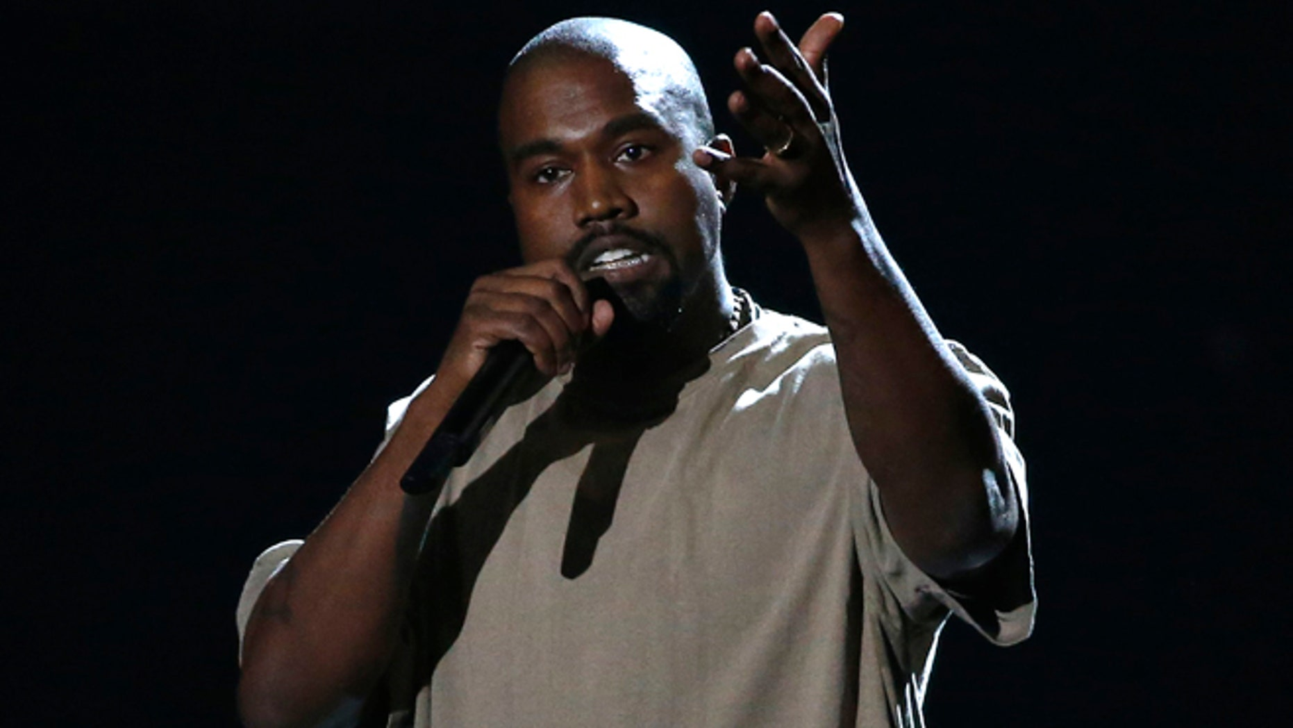 August 30, 2015. Kanye West accepts the Video Vanguard Award at the 2015 MTV Video Music Awards in Los Angeles.