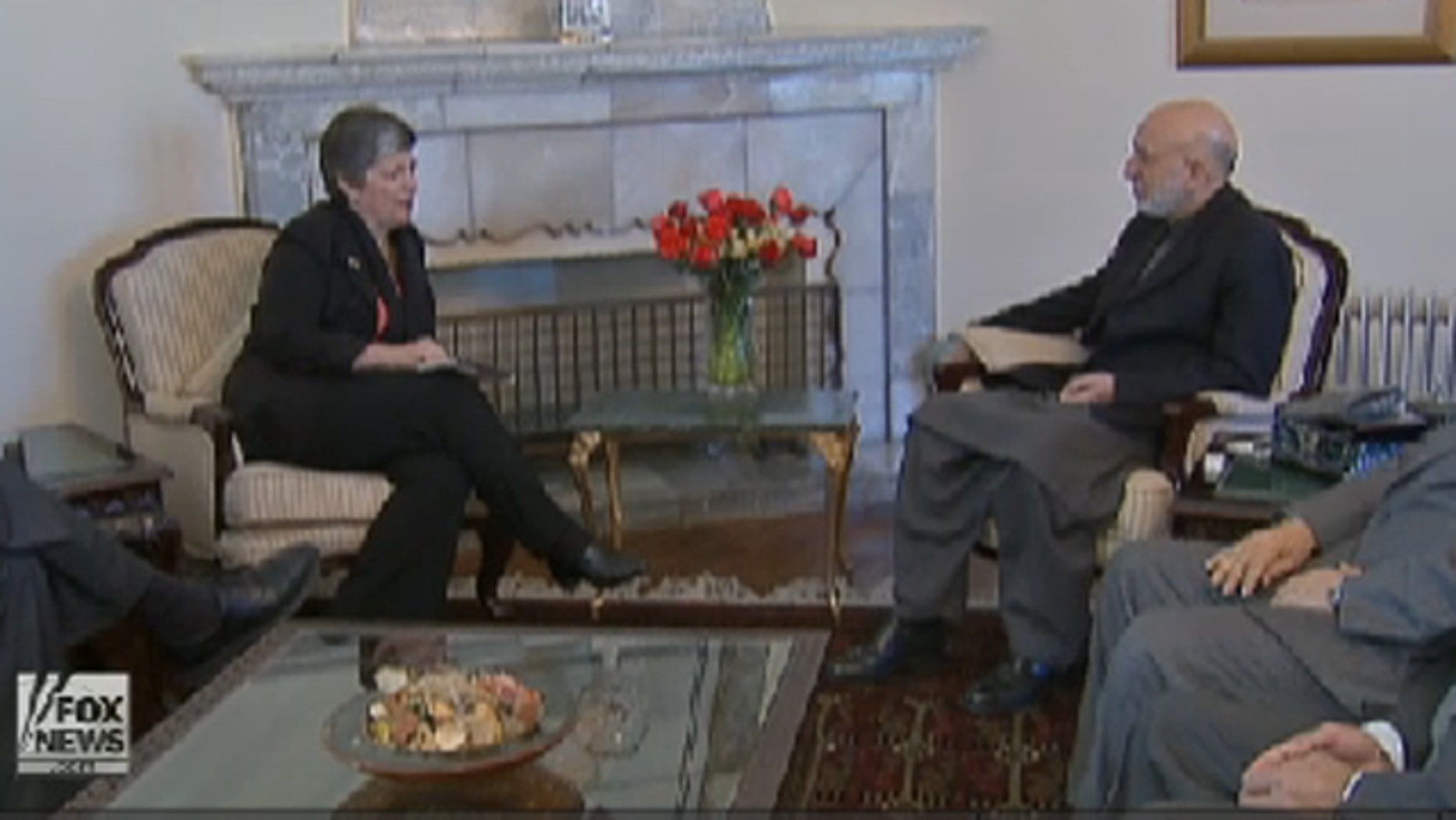 Homeland Security Secretary Janet Napolitano meets with Afghan President Hamid Karzai in Afghanistan Jan. 1.