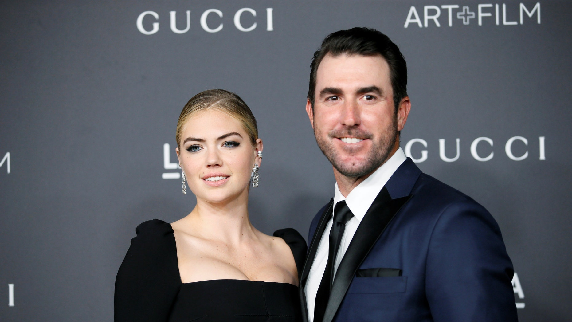 Model Kate Upton and Major League Baseball pitcher Justin Verlander pose at the Los Angeles County Museum of Art+Film Gala in Los Angeles, Oct. 29, 2016.