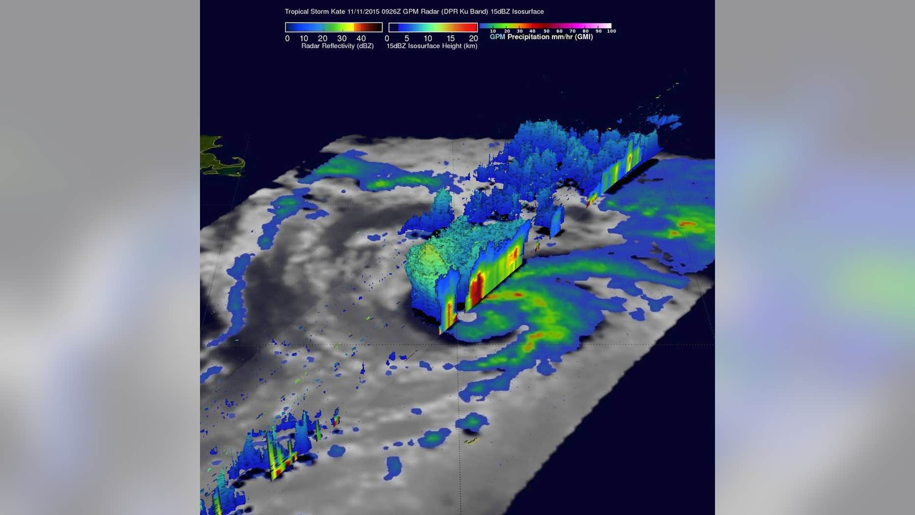 On Nov. 11, GPM found that intense storms within feeder bands there were dropping rain at a rate of over 80 mm (3.1 inches) per hour. A 3-D cross section by GPM's Radar (DPR Ku Band) through Kate's weak eye shows intense storms swirling around the northern side of the tropical cyclone. (NASA/JAXA/SSAI, Hal Pierce)