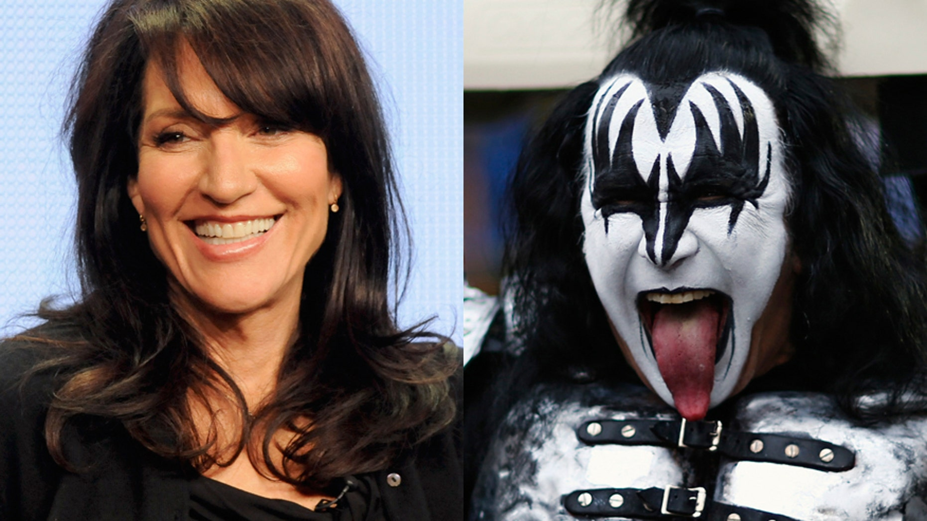 Actress Katey Sagal (left) and Gene Simmons of the rock band KISS.