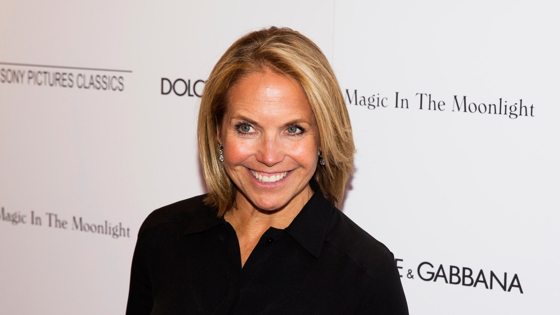 """July 17, 2014. Katie Couric arrives for the premiere of the Woody Allen film """"Magic in the Moonlight"""" in New York."""