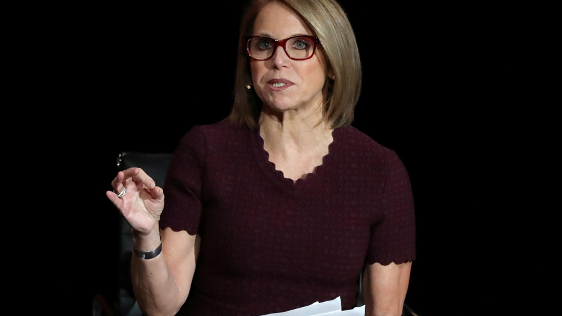"In this May 12, 2016, file photo, Katie Couric attends the premiere of her documentary, ""Under The Gun"", hosted by The Cinema Society in New York."