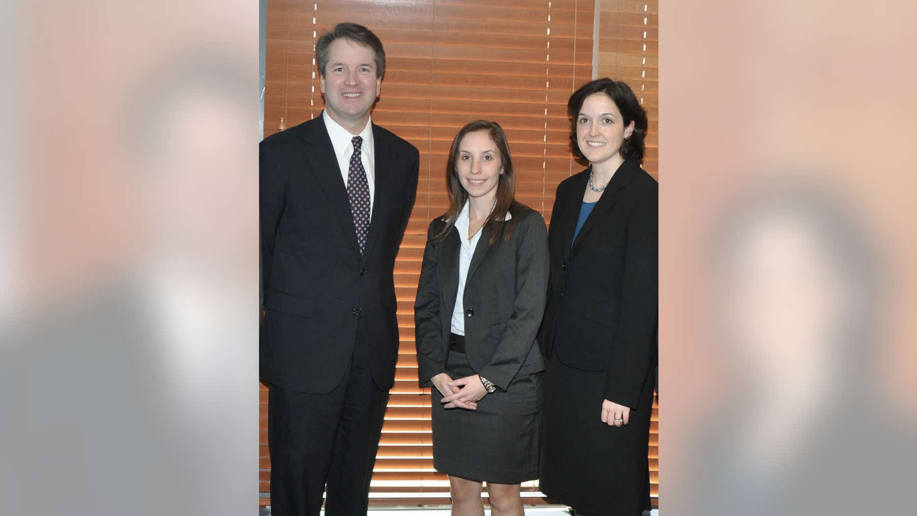 Judge Brett Kavanaugh with former law clerks Rebecca Taibleson (left) and Sarah Pitlyk (right)