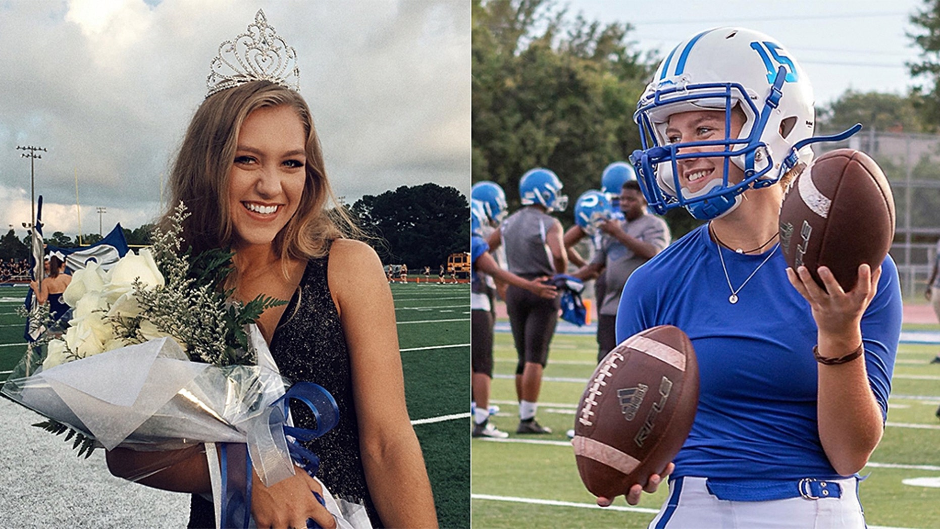 Homecoming Queen Kaylee Foster holds her football helmet while wearing a tiara on the field in Ocean Springs, Miss., Sept. 7, 2018.