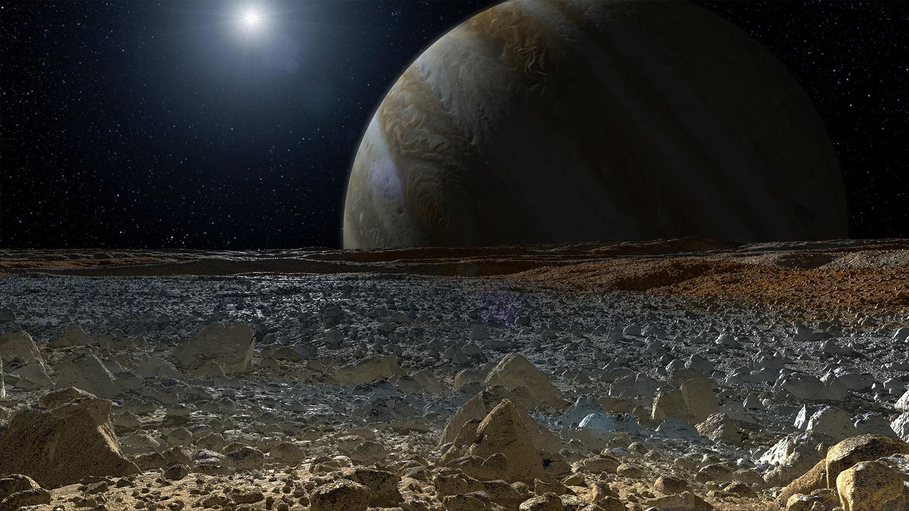 An artist's conception of what the surface of Europa might look like. Credit: NASA