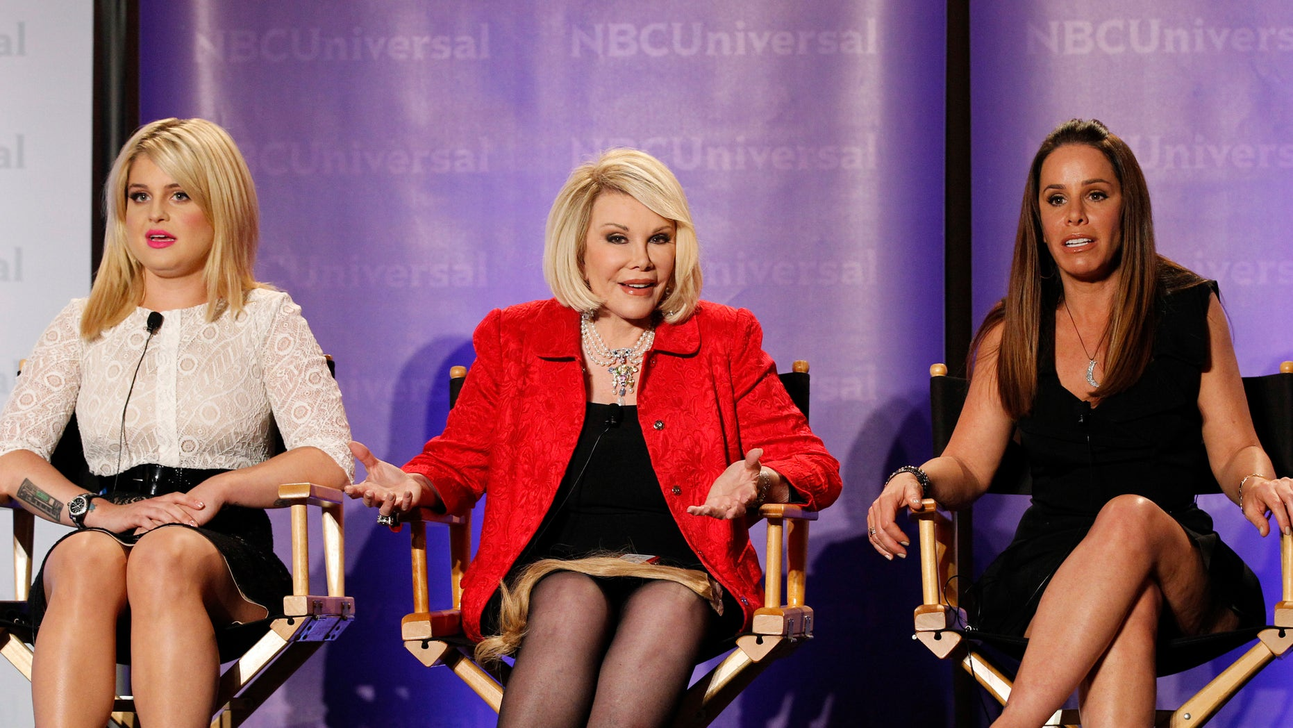 """April 15, 2011. Co-Executive producer Melissa Rivers (R), host Joan Rivers (C) and co-host Kelly Osbourne attend the E! panel for the television show """"Fashion Police"""" during the Television Critics Association summer press tour in Pasadena, California."""