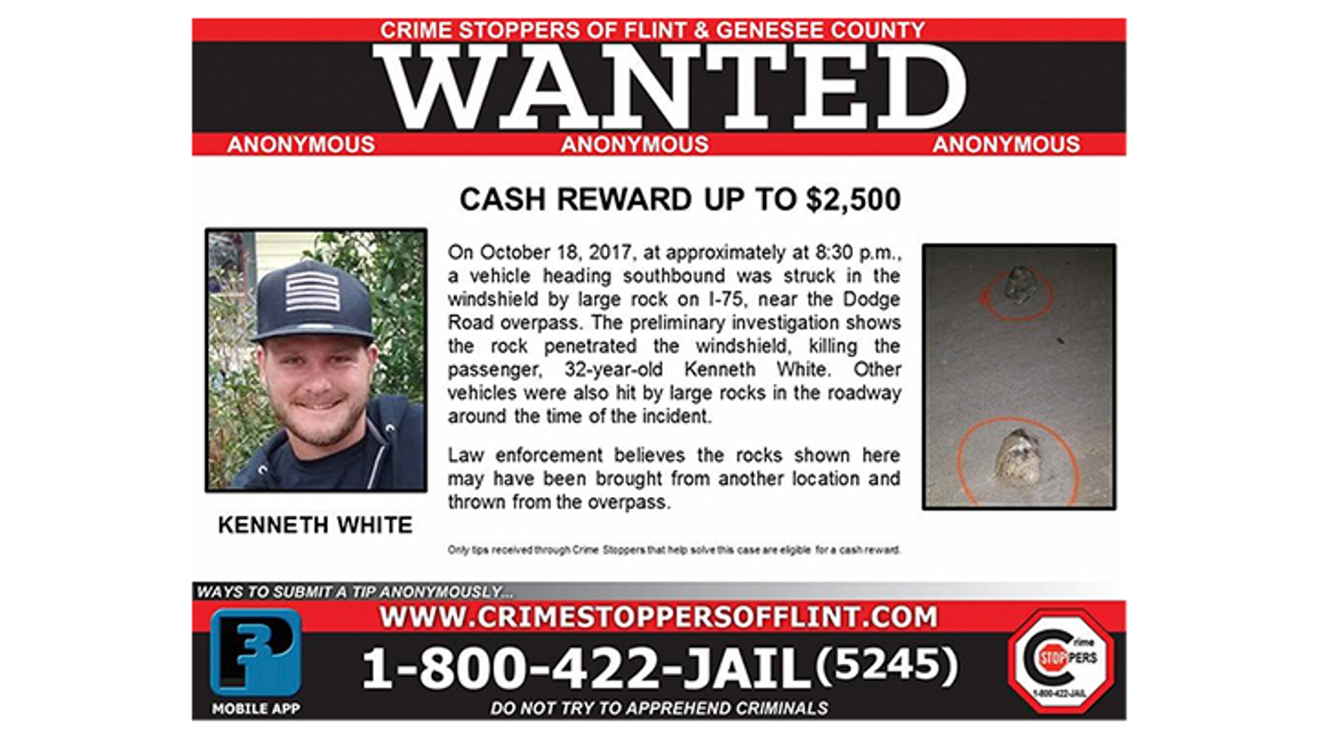 Crime Stoppers of Flint and Genesee County in Michigan posted a $2,500 reward in connection with an incident that killed Kenneth White.