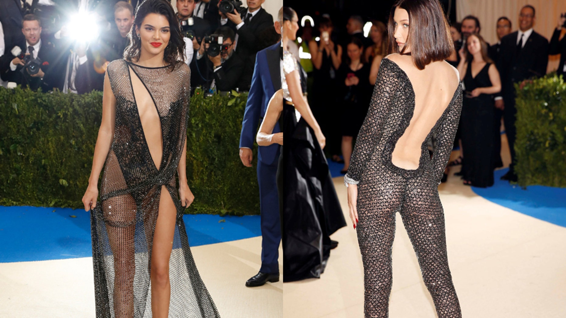 Models Kendall Jenner (left) and Bella Hadid attend the 2017 Met Gala in New York City, May 1, 2017