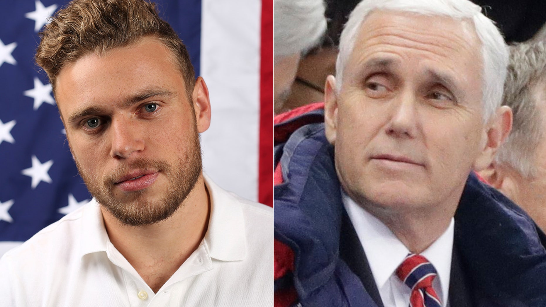 Olympic skier Gus Kenworthy, left, and Vice President Mike Pence.