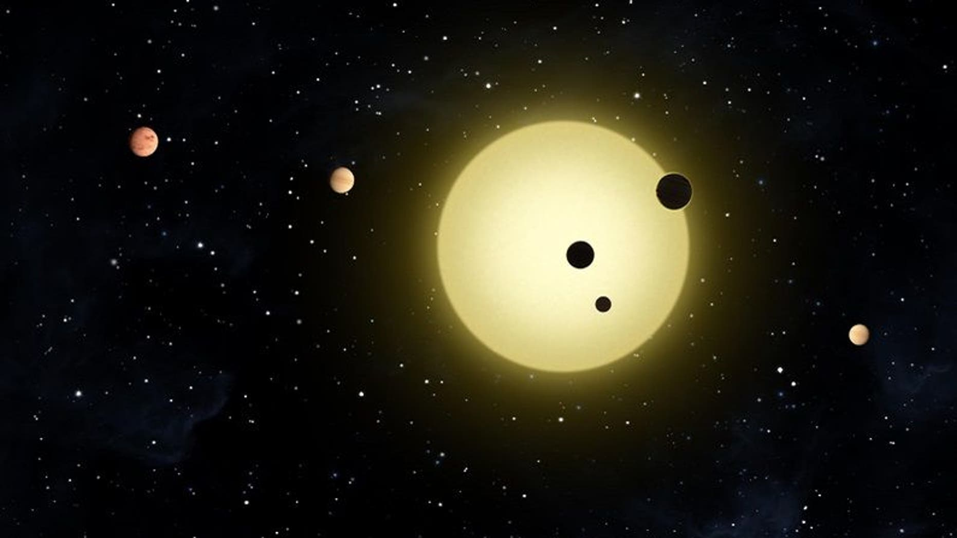 The Kepler-11 system has a sun-like star with six orbiting planets.