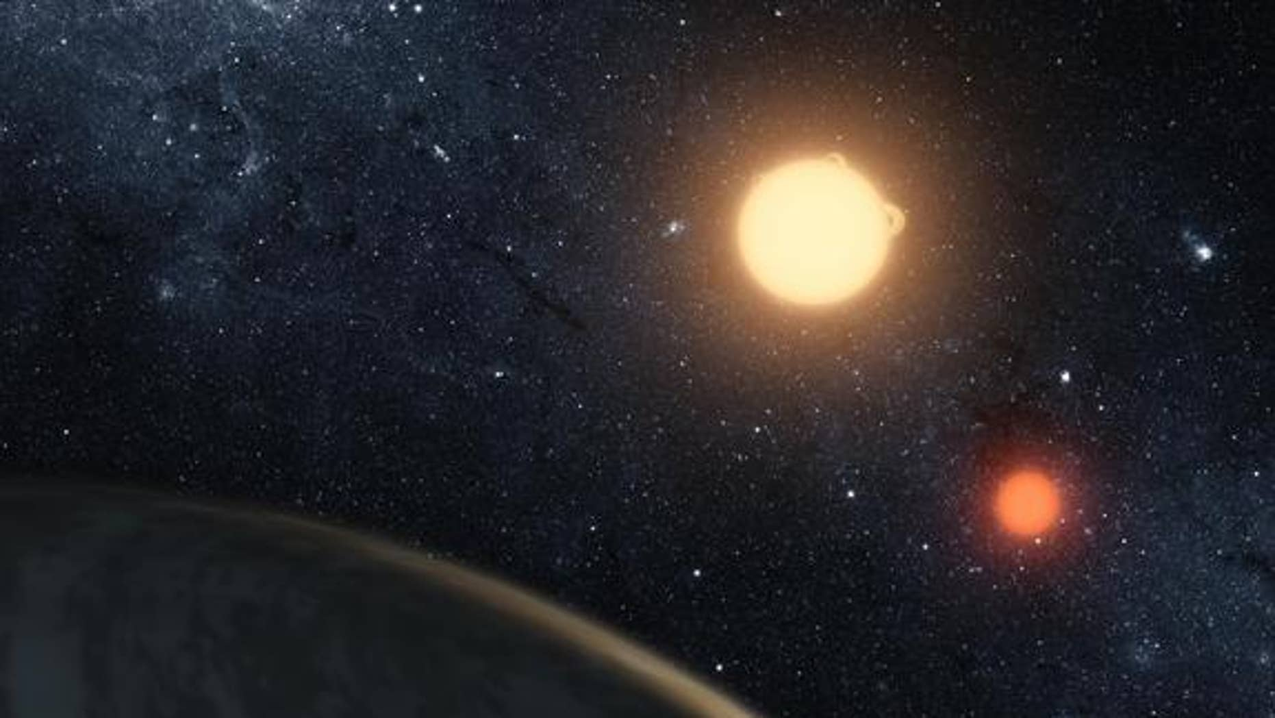 An artist's illustration of Kepler-16b, the first planet known to definitively orbit two stars. More planets orbiting two stars have been found since Kepler-16b's discovery.