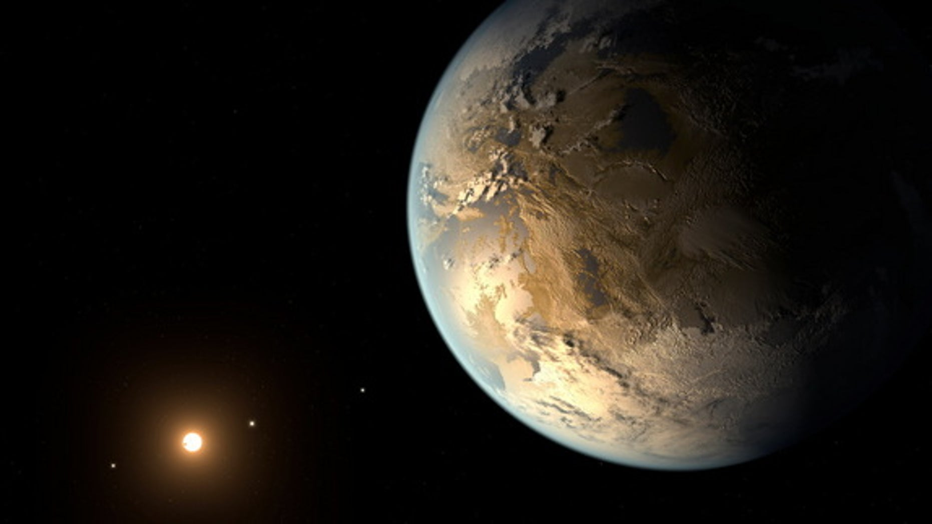Artist's concept of Kepler-186f, the first Earth-size planet found orbiting in the habitable zone of its parent star. Kepler-186f orbits a red dwarf about 490 light-years from Earth.