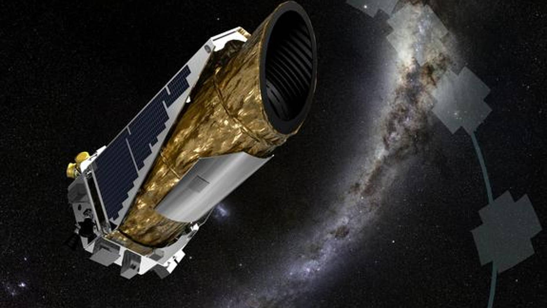 The artist's illustration shows NASA's planet-hunting Kepler spacecraft operating in its second-chance K2 mission.