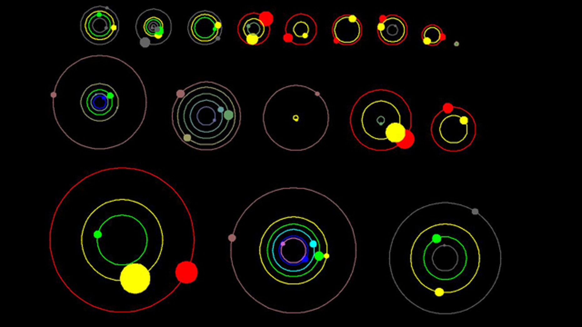 This artist's concept shows an overhead view of the orbital position of the planets in systems with multiple transiting planets discovered by NASA's Kepler mission, and announced on Jan. 26, 2012. All the colored planets have been verified. The planet candidates shown in grey have not yet been verified.