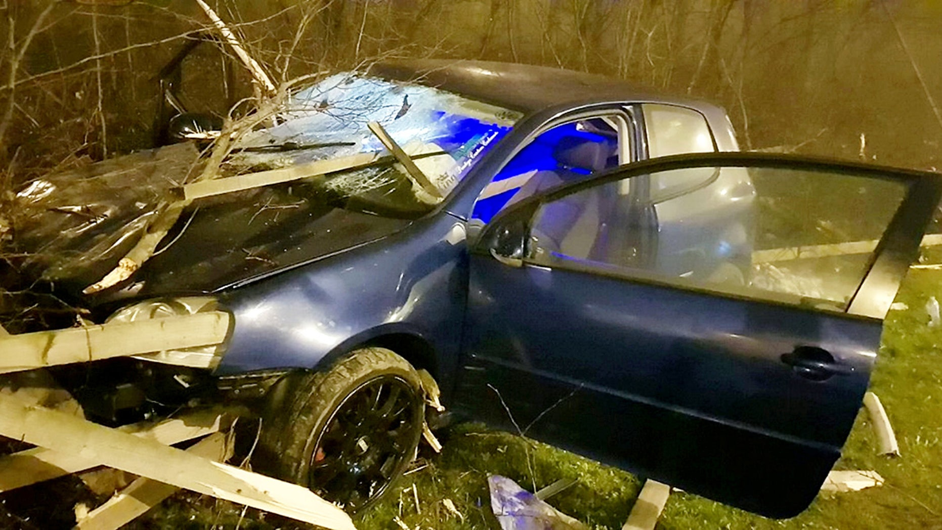"""Four people had an """"unbelievable"""" escape from death after planks of timber skewered the small car they were travelling in when it collided with a fence yesterday (Sunday). See ROSS PARRY story RPYCRASH.  Traffic police in West Yorkshire posted the shocking pictures of the wrecked vehicle on Twitter showing the damage of the car crash which happened in the Stourton area of Leeds.  The officers said on Twitter: """"Four of the luckiest people our officers have ever seen following an RTC. """"Unbelievable how this did not result in multiple fatalities.  Thankfully luck was on everybody's side this evening."""""""