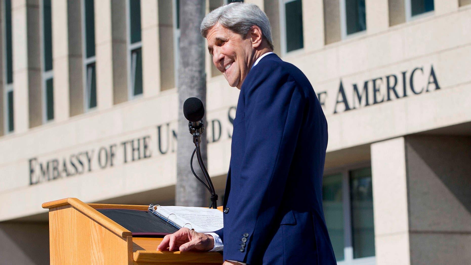 Secretary Kerry at the newly reopened embassy in Havana, Cuba. Friday, Aug. 14, 2015.