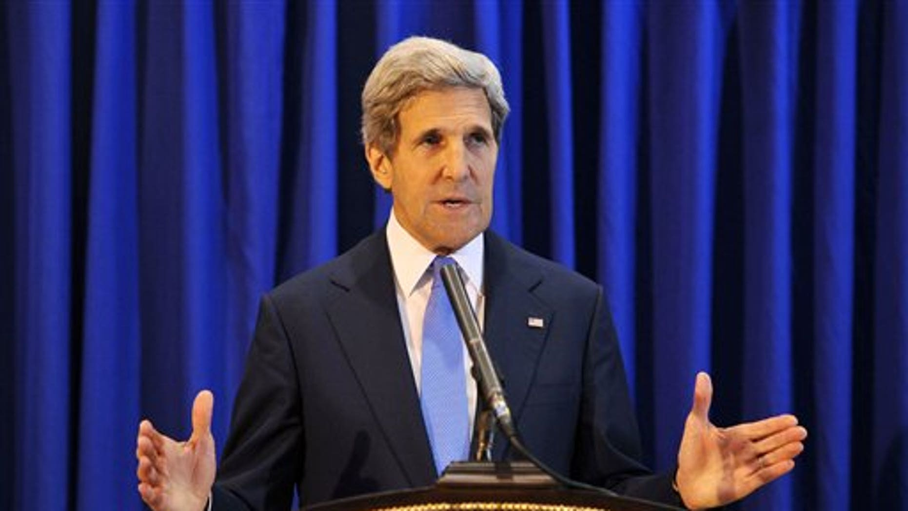July 19, 2013 - U.S. Secretary of State John Kerry speaks during a press conference at Queen Alia International Airport. Kerry says Israel and the Palestinians will meet soon in Washington to finalize an agreement on relaunching peace negotiations for the first time in five years.
