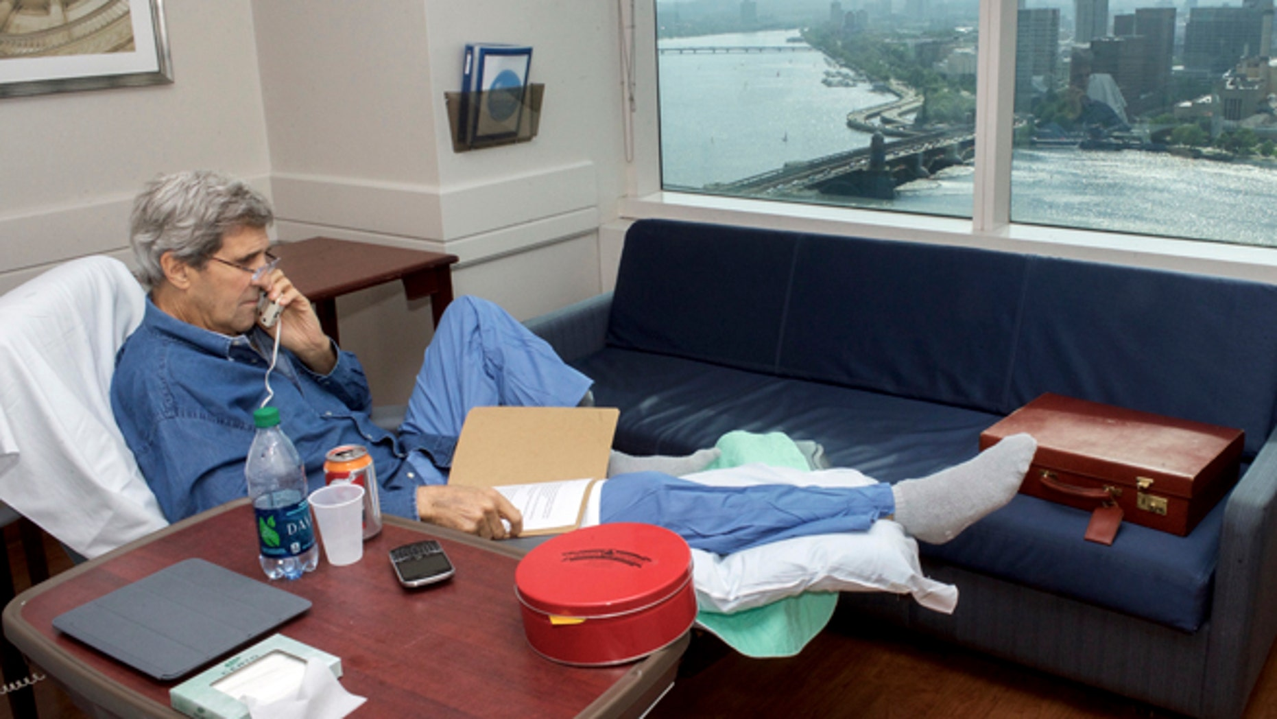 June 9, 2015: Secretary of State John Kerry speaks on Tuesday, June 9, 2015, to National Security Adviser Susan Rice from his hospital room at Massachusetts General Hospital in Boston.